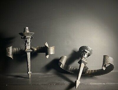 Pair Of Hand Forged vintage Wrought Iron Wall Sconces /Wall Lights  Rustic Black