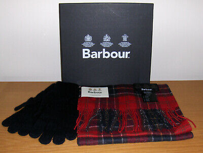 Genuine Barbour Lifestyle Lambswool Scarf+Glove Gift Box Set -Red Mix Rp£50 Bnb