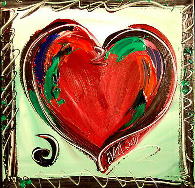 HEART   Impasto Impressionism Art Oil Painting Signed by canadian artist M.KAZAV