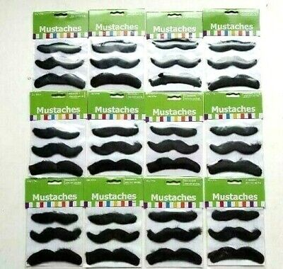 36 Self Adhesive Fake Furry Mustaches Costume Disguise Gag Facial Hair Prop