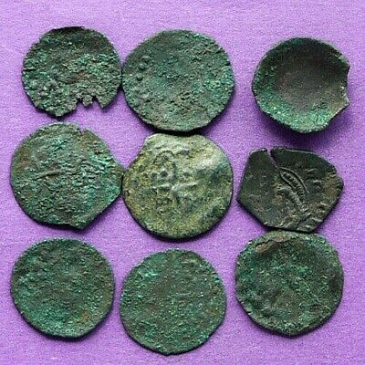 M1179 Lot of 9 late Byzantine medieval bronze coins 18-19mm 7.4g