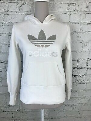 Adidas Womens White Long Sleeve Pull Over Casual Activewear Hoodie Size 12