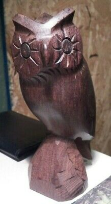 """Real Nice Hand Carved Wooden Owl Sitting on Tree Trunk 6 1/2"""" High"""