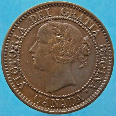 1859 Canada Canadian Large 1 Cent Victoria Coin - Haxby PC59-103