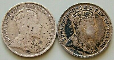 1907 & 1910 Canada Canadian Silver 5 Cent Edward Coins - Lot Of 2