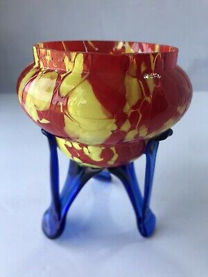 Vtg Bohemian Czech Art Deco Spatter Glass Footed Posy Vase Multi Colored