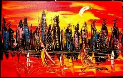 MANHATTAN ART canvas painting Mark Kazav Original Oil Painting no reserve