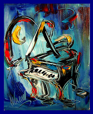 PIANO ON BLUE ART CANVAS IMPRESSIONIST IMPASTO ARTIST  custom PAINTING