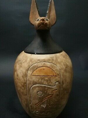 Rare Antique  Canopic Jars Ancient Egyptian 1 Large Set of stone 1314 Bc