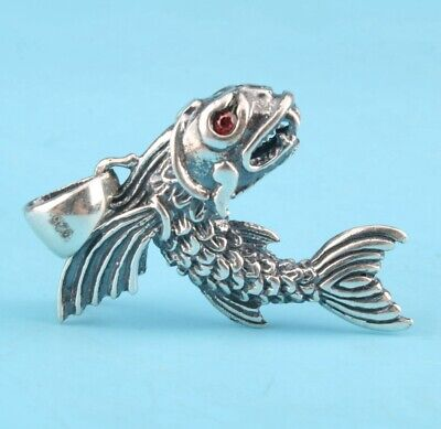 Preciou 925 Silver Pendant Statue Flying Fish Mascot Hand-Made Gift