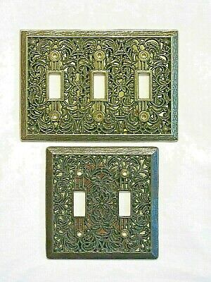 Vtg Lot Mid Century Brass Wall Switch Plate Covers Hollywood Regency Art Deco