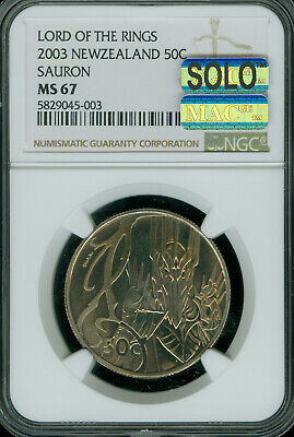 2003 New Zealand Lord Rings Sauron 50 Cents Ngc Ms-68 Mac Solo Finest Spotless *