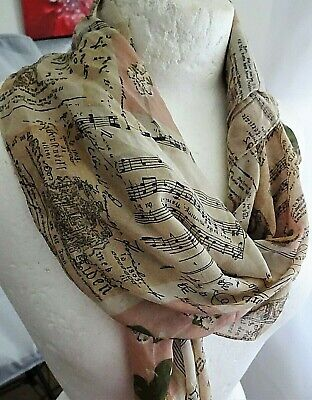 """MUSIC THEMES SCARF 33"""" Inch SQUARE - Piano  Classic - Vintage - 99p Sale!"""