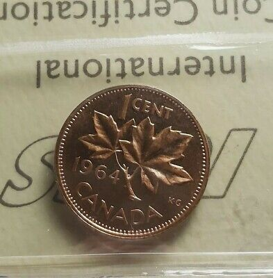 Canada 1964 $0.01 Penny. ICCS Graded PL-65 Red Ultra Cameo.