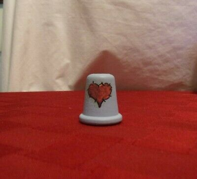 Light Blue Wood Handpainted with Red Heart Quilt Piece Thimble, great condition