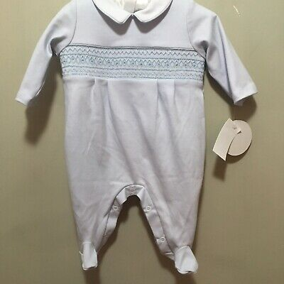 NWT, $52.00 Infant Boy's Blue Smocked 1 Piece Dress Outfit with White Collar, 3M