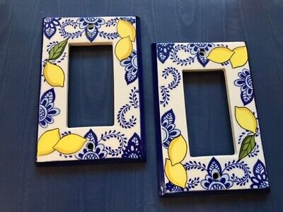 All Fired Up! Ceramic Outlet Covers, Blue & White with Lemons