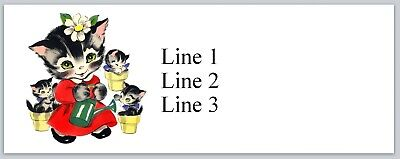 Personalized Address Labels Mama Cat and three Kittens Buy 3 get 1 free Jx 382