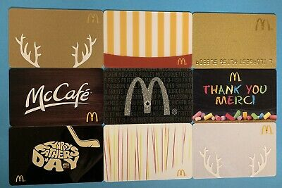 McDONALD'S CANADA GIFT CARD LOT X 9 - New No Value - All Different