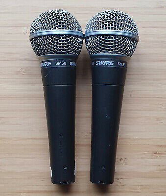 Set of two Shure SM58 dynamic microphones
