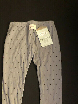 Persnickety Polka Dot Grey Charcoal Triple Lace Leggings Pants 7 8 Girls Nwt Wow