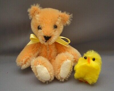 PAM'S EXCLUSIVE BEARS-Miniature 3 inch Tall Mohair Teddy-Alistair & His Chick