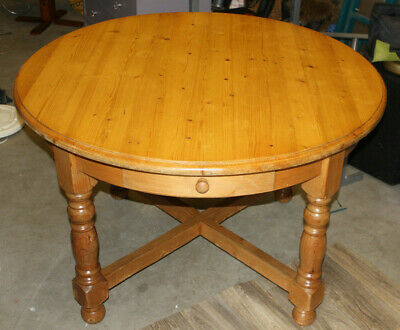 Antique Pine Vintage Farmhouse Round Table Heavy Turned Legs with 4 Drawers