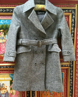 ORIGINAL VINTAGE 1970's DOES 40's HARRODS GIRLS BOYS WOOL TRENCH COAT AGE 5-6