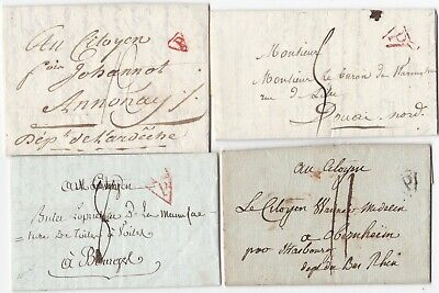 ! c.1790s x 4 PARIS FRANCE PRE-STAMP LETTERS 'P' TRIANGLE POSTMARKS AN 2 - AN 7