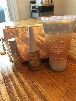 MARY KAY SIGNATURE LIP GLOSS-GOLD GLIMMER Top Coat- Body And Face Gel 3 PIECE-
