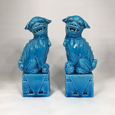 PAIR OF BEAUTIFUL ANTIQUE CHINESE FOO DOGS TURQUOISE BLUE 6ins