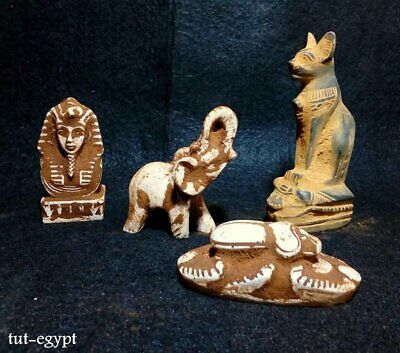Rare Antique Ancient Egyptian 4statues Amulet God HORUS CAT TUTANKHAMOUN1325 BC