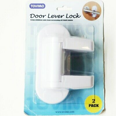 Baby Door Lever Lock Child Toddler Proof Safety Doors Handles Tovimo 2 pack
