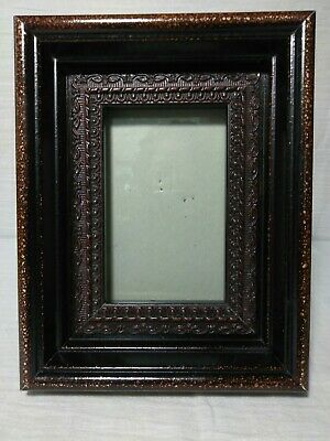 Vtg Arts Crafts Bronze Gilt Carved Faux Wood  Picture Frame 6x9