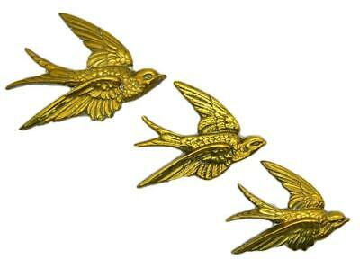 Antique Brass Birds Set of three Wall hanging Swifts