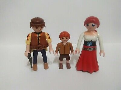 Playmobil Lot Of 3 Figures Western cowboy family with gun (m)