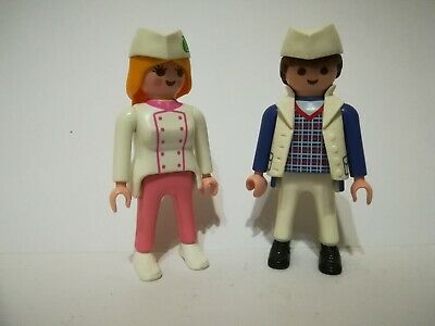 Playmobil Lot of 2 figures Boy & Girl Chef Chefs Pizza