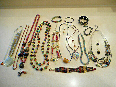 Huge 18 Pc Mixed Lot Vintage/Estate/Now Brown Costume Jewelry ALL WEARABLE 1+Lbs