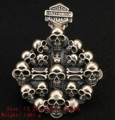Precious 925 Silver Real Silver Solid Silver Pendant Statue Skull Exorcism Gift