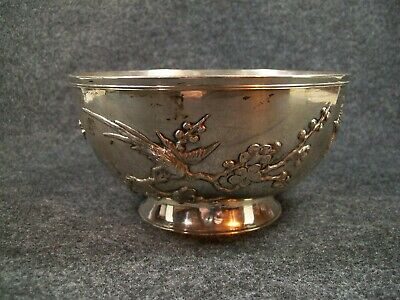 Antique Zee Wo Chinese Export Aesthetic Style Sterling Silver Bowl Birds Trees