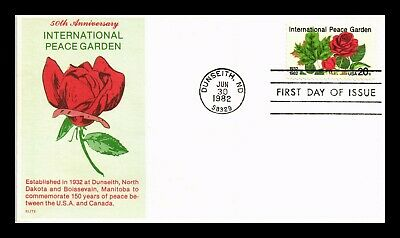 Dr Jim Stamps Us International Peace Garden 50Th Anniversary Elite Fdc Cover
