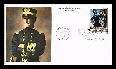 Dr Jim Stamps Us Admiral David Farragut Civil War Classic Fdc Cover Mystic