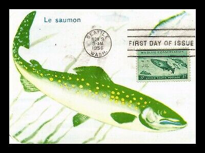 Dr Jim Stamps Us King Salmon Wildlife Conservation First Day Maximum Card