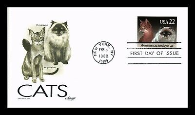 Dr Jim Stamps Us Cats Abyssinian Himalayan Artmaster First Day Of Issue Cover