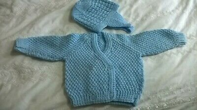 """Blue  Hand Knitted  Childs/Baby Double Breasted Cardigan &  Hat Chest Size 18"""""""