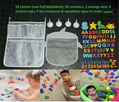 81x Baby Kids Children Educational Foam Bath Toys Letters ABC Numbers Storage