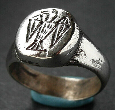 EF Rare genuine ancient Viking silver ring with raven - Wearable