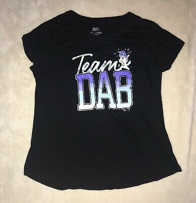 Justice Team Dab Unicorn Black Short Sleeve T-Shirt Top, Girls Size 22 Plus