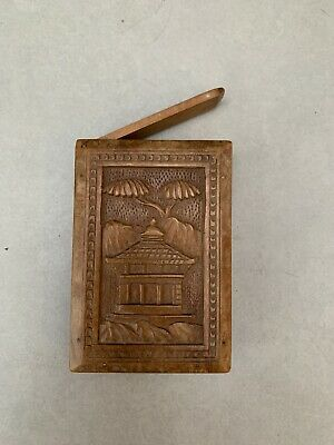 Antique Oriental Wooden Hand Carved Card Case