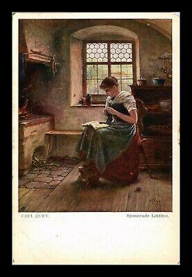 Dr Jim Stamps Girl Knitting And Reading Painting Carl Zewy Austria Postcard